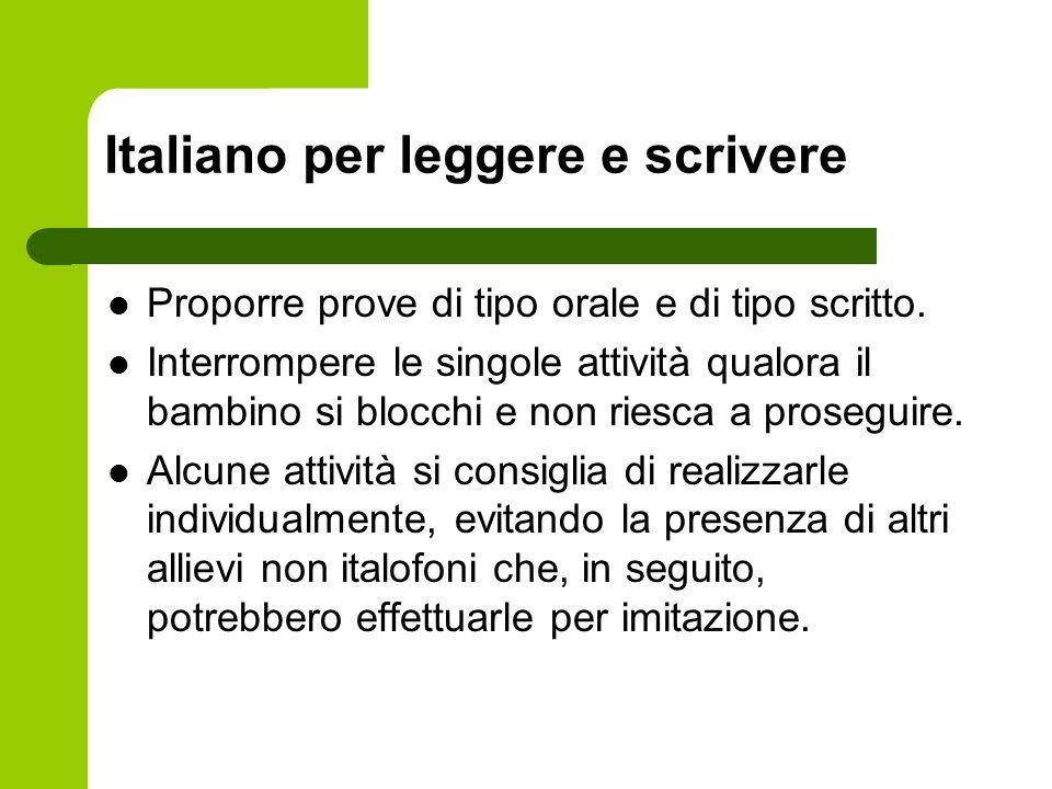 Italiano per leggere e scrivere
