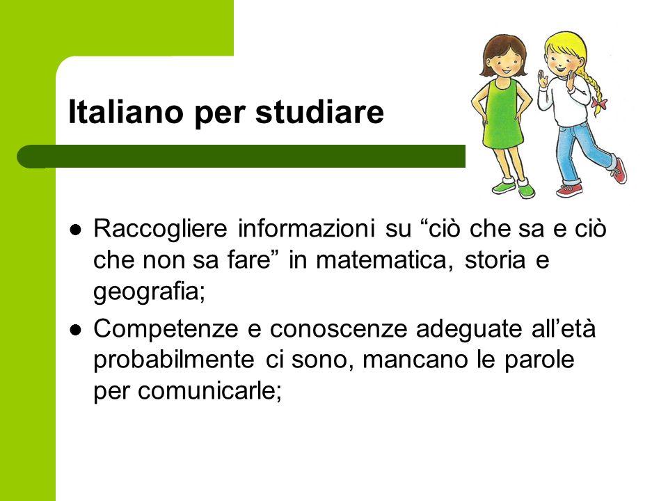 Italiano per studiareRaccogliere informazioni su ciò che sa e ciò che non sa fare in matematica, storia e geografia;