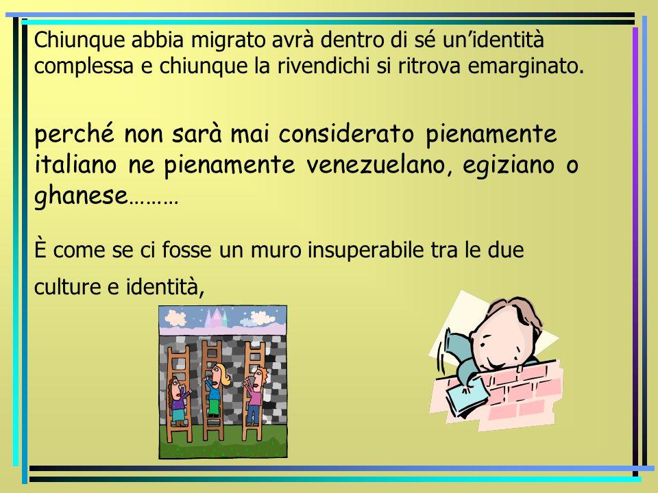 Chiunque abbia migrato avrà dentro di sé un'identità complessa e chiunque la rivendichi si ritrova emarginato.