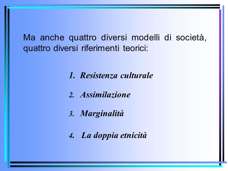 Ma anche quattro diversi modelli di società, quattro diversi riferimenti teorici: