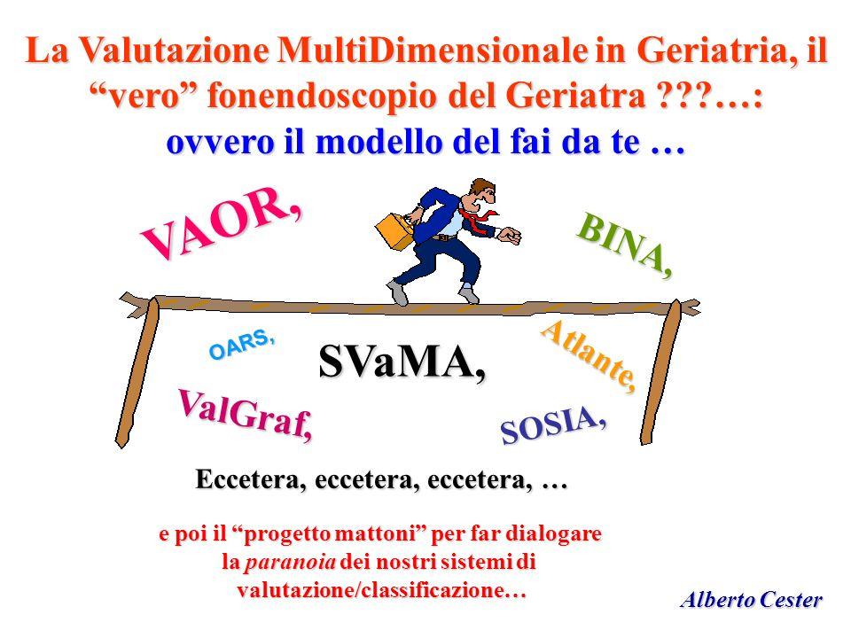 VAOR, SVaMA, La Valutazione MultiDimensionale in Geriatria, il