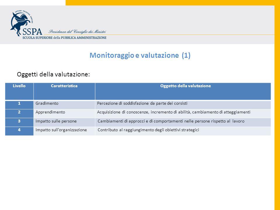 Monitoraggio e valutazione (1) Oggetto della valutazione