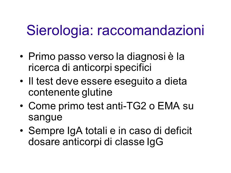 Sierologia: raccomandazioni