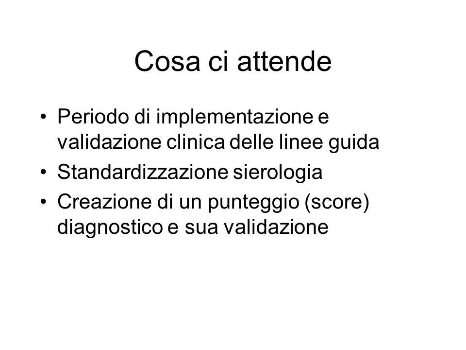 Cosa ci attende Periodo di implementazione e validazione clinica delle linee guida. Standardizzazione sierologia.
