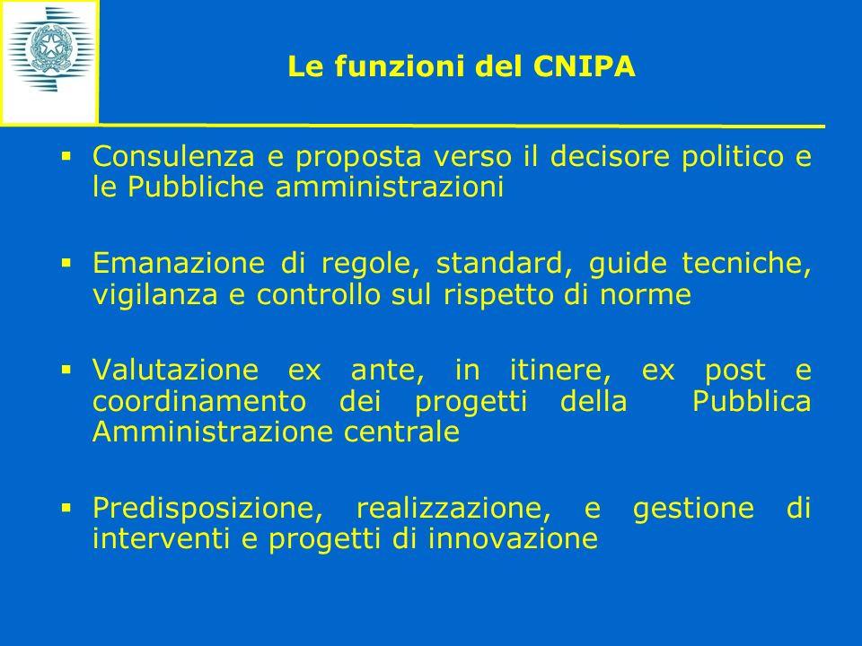 Le funzioni del CNIPA Consulenza e proposta verso il decisore politico e le Pubbliche amministrazioni.
