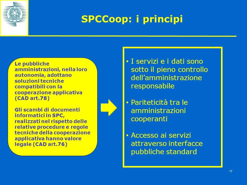 SPCCoop: i principi I servizi e i dati sono sotto il pieno controllo dell'amministrazione responsabile.