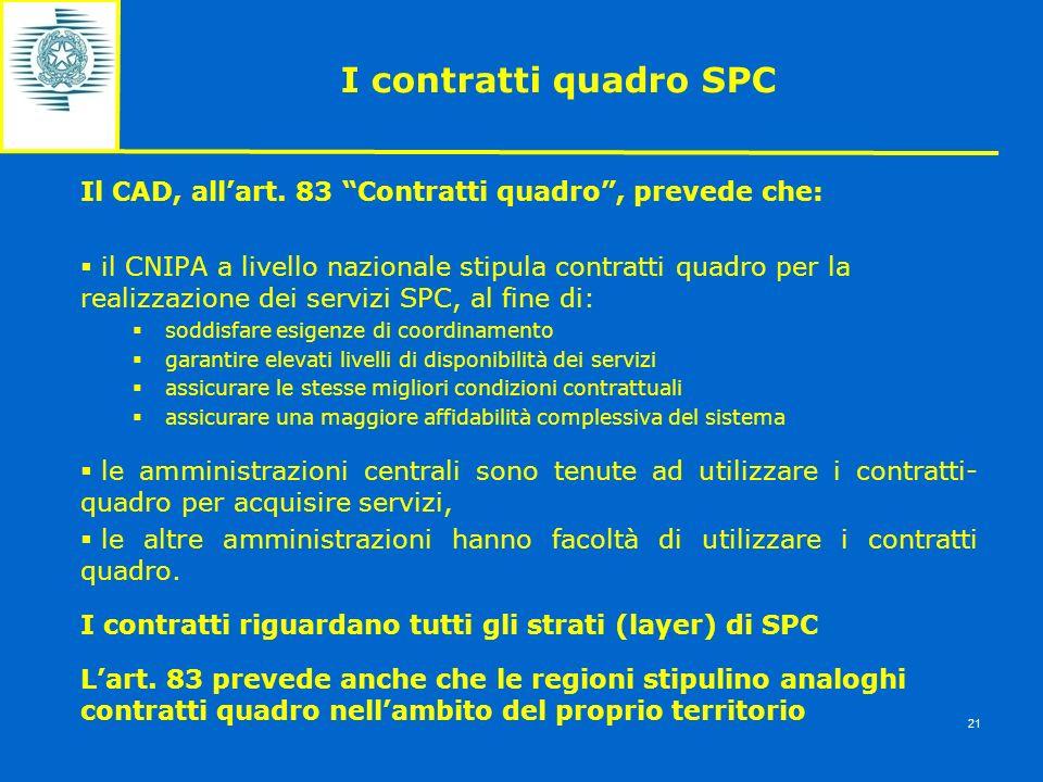 I contratti quadro SPC Il CAD, all'art. 83 Contratti quadro , prevede che: