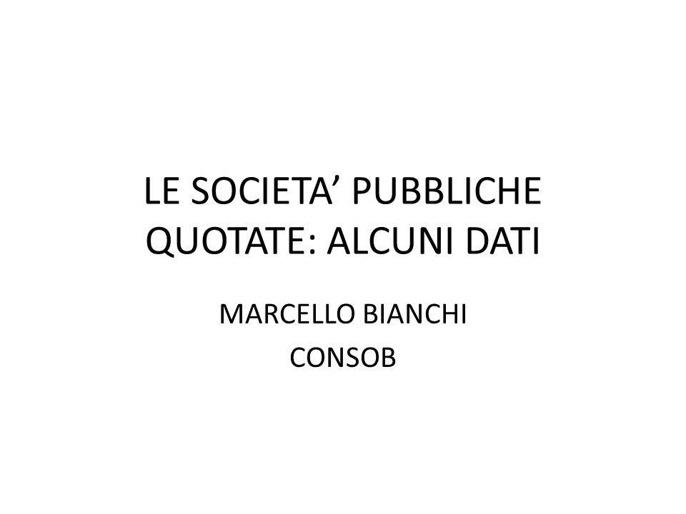 LE SOCIETA' PUBBLICHE QUOTATE: ALCUNI DATI