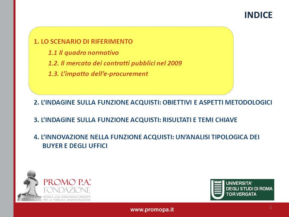 INDICE 1. LO SCENARIO DI RIFERIMENTO 1.1 Il quadro normativo