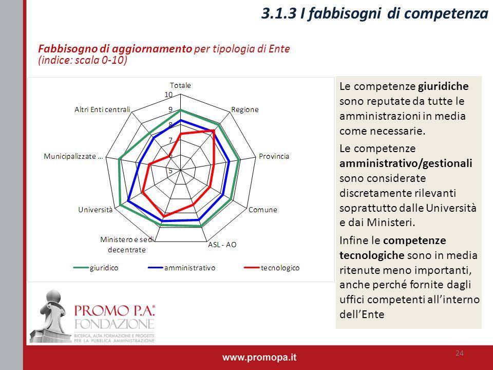 3.1.3 I fabbisogni di competenza