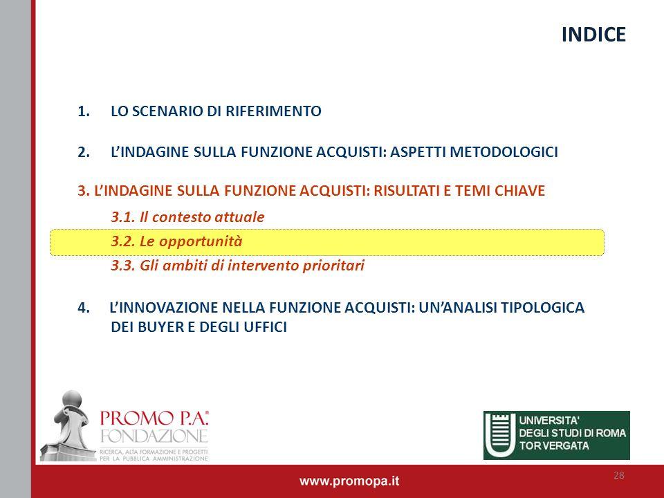 INDICE LO SCENARIO DI RIFERIMENTO