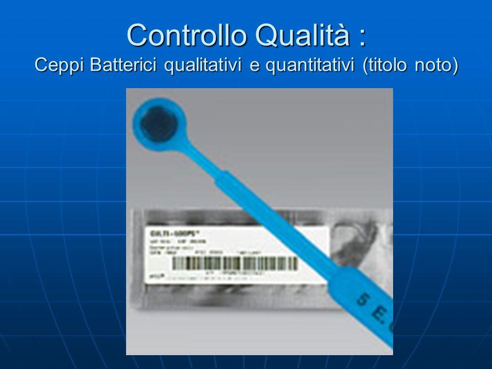 Controllo Qualità : Ceppi Batterici qualitativi e quantitativi (titolo noto)