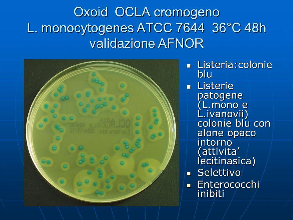 Oxoid OCLA cromogeno L. monocytogenes ATCC 7644 36°C 48h validazione AFNOR