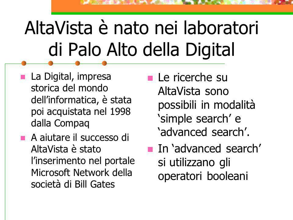 AltaVista è nato nei laboratori di Palo Alto della Digital