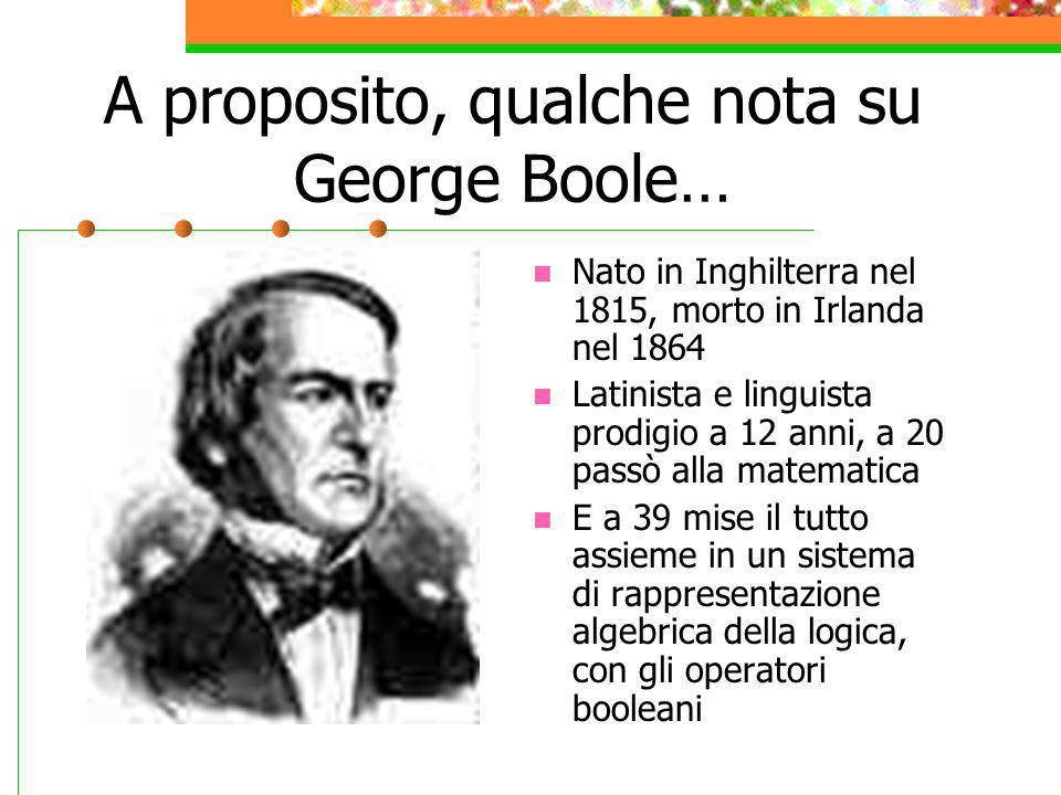 A proposito, qualche nota su George Boole…