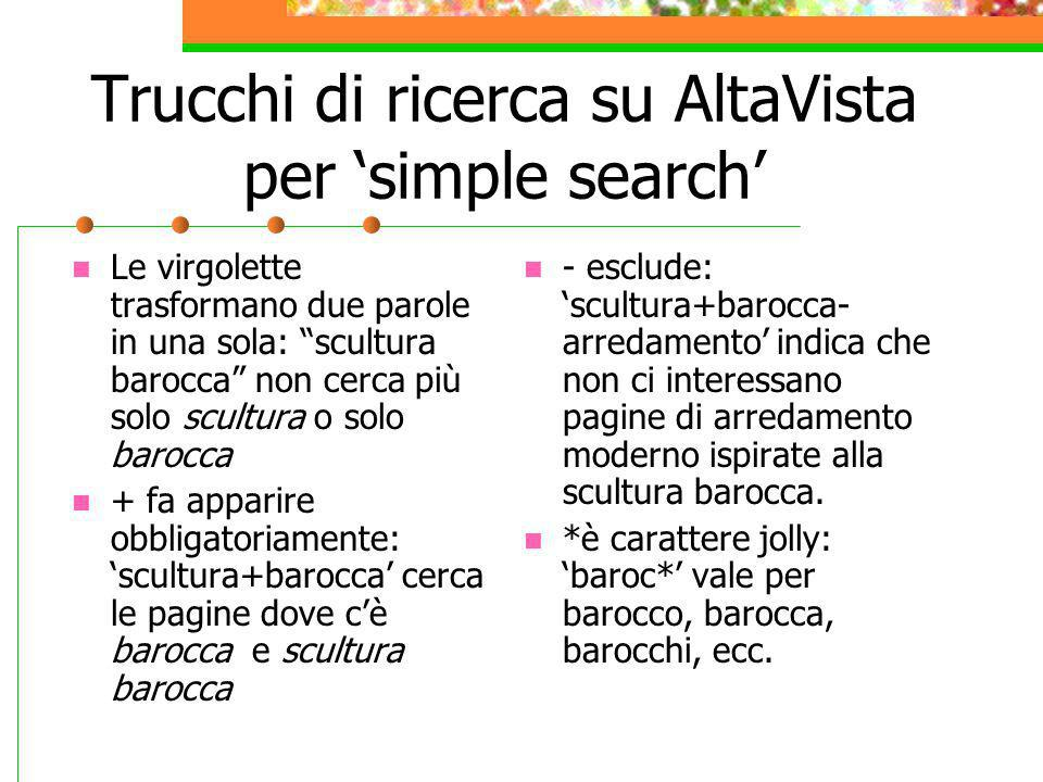 Trucchi di ricerca su AltaVista per 'simple search'
