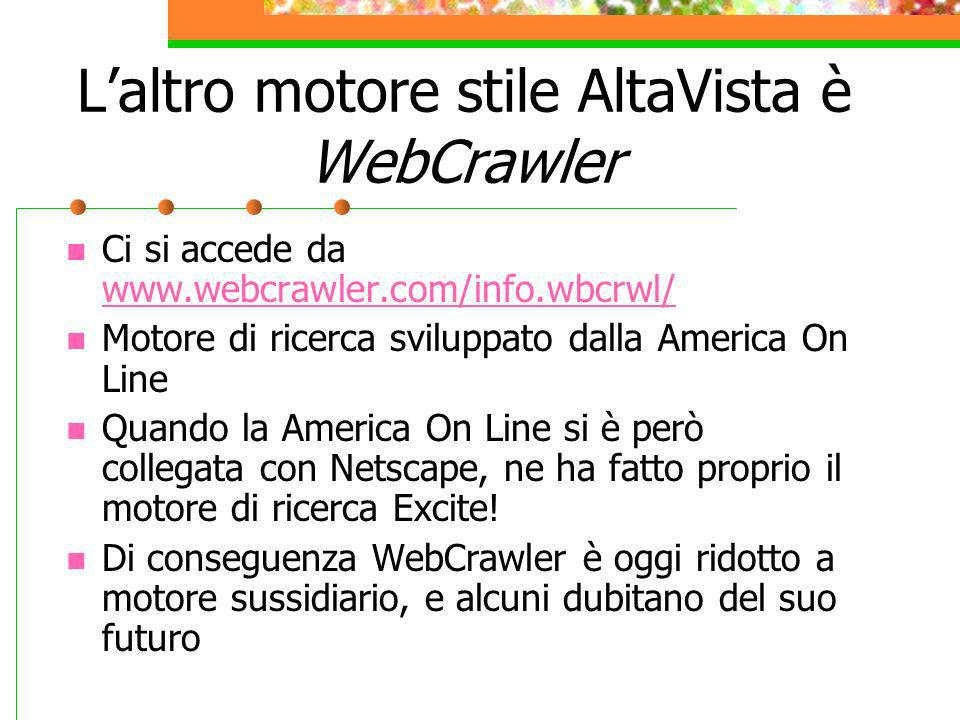 L'altro motore stile AltaVista è WebCrawler