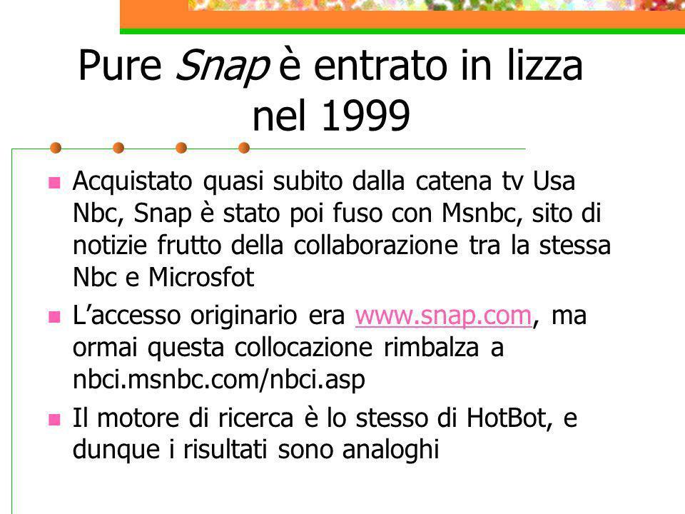 Pure Snap è entrato in lizza nel 1999