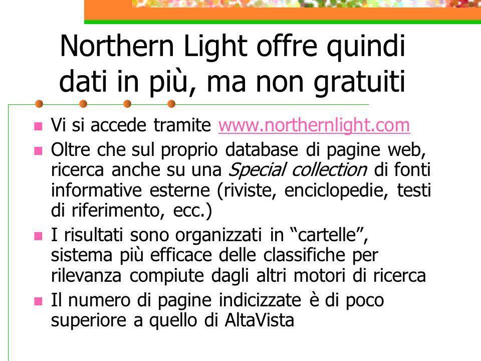 Northern Light offre quindi dati in più, ma non gratuiti