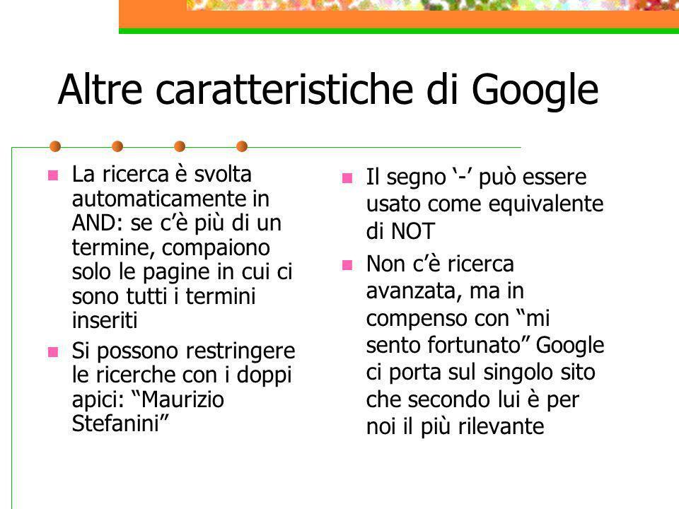 Altre caratteristiche di Google