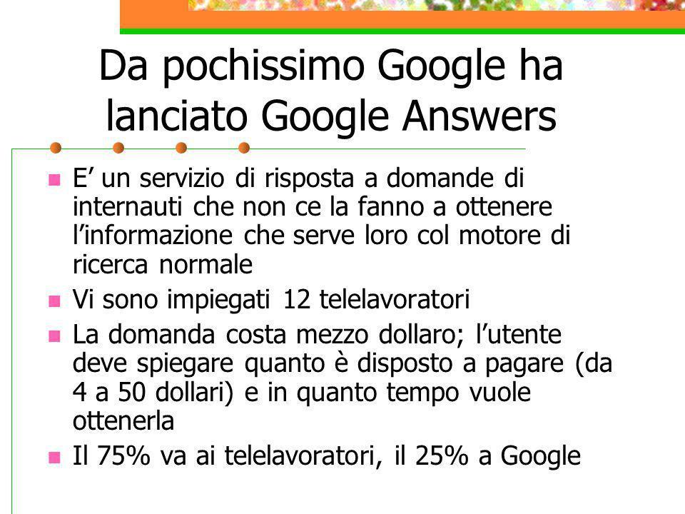 Da pochissimo Google ha lanciato Google Answers