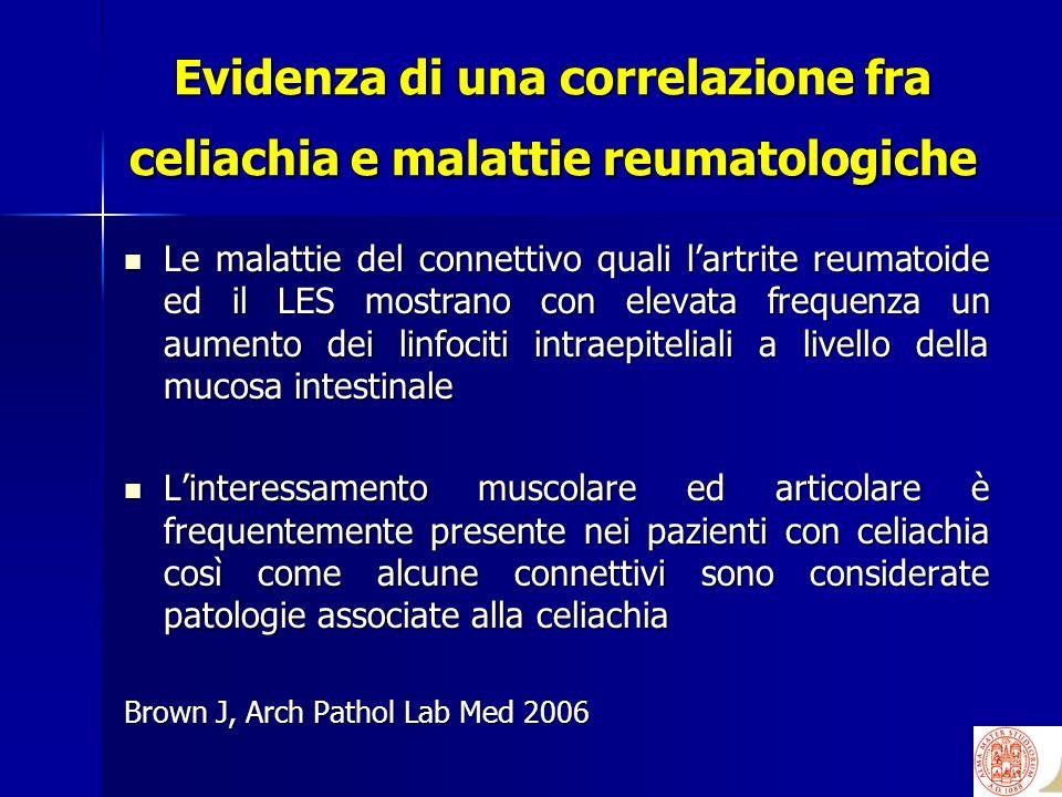 Evidenza di una correlazione fra celiachia e malattie reumatologiche