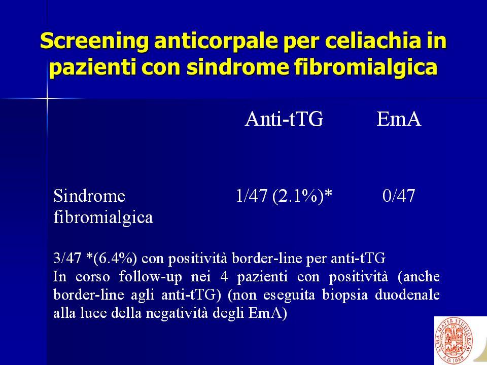 Screening anticorpale per celiachia in pazienti con sindrome fibromialgica