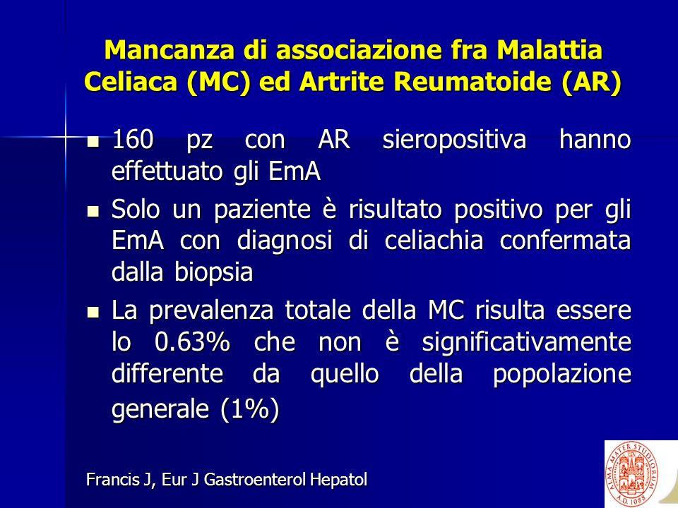 160 pz con AR sieropositiva hanno effettuato gli EmA