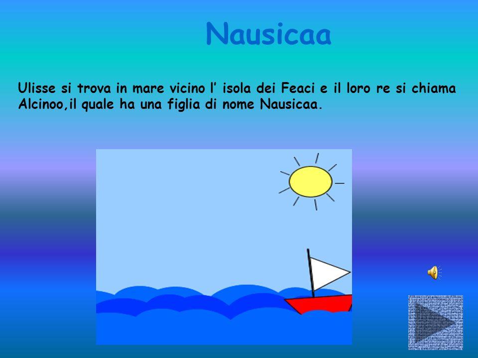 Nausicaa Ulisse si trova in mare vicino l' isola dei Feaci e il loro re si chiama Alcinoo,il quale ha una figlia di nome Nausicaa.