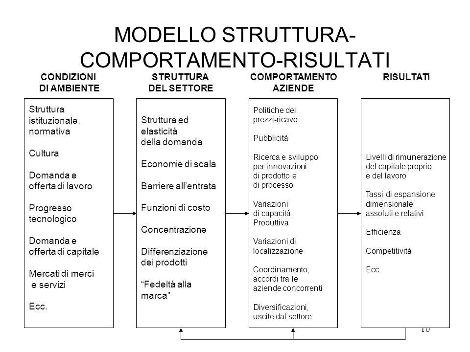 MODELLO STRUTTURA-COMPORTAMENTO-RISULTATI