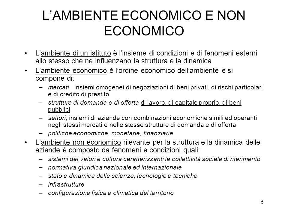 L'AMBIENTE ECONOMICO E NON ECONOMICO