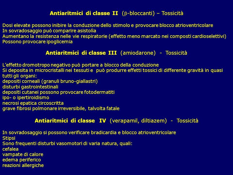 Antiaritmici di classe II (-bloccanti) – Tossicità