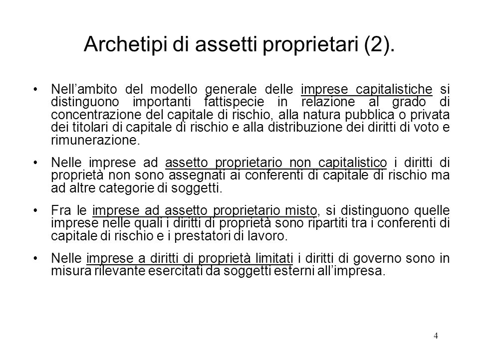 Archetipi di assetti proprietari (2).