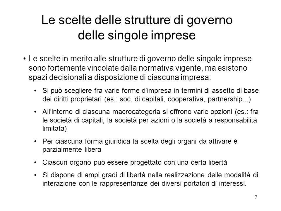 Le scelte delle strutture di governo