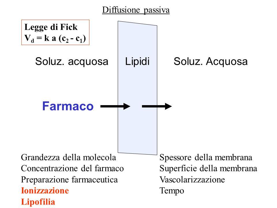Farmaco Lipidi Soluz. acquosa Soluz. Acquosa Diffusione passiva