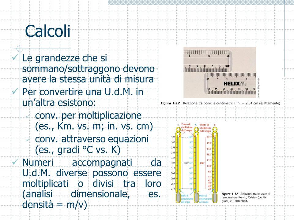Calcoli Le grandezze che si sommano/sottraggono devono avere la stessa unità di misura. Per convertire una U.d.M. in un'altra esistono: