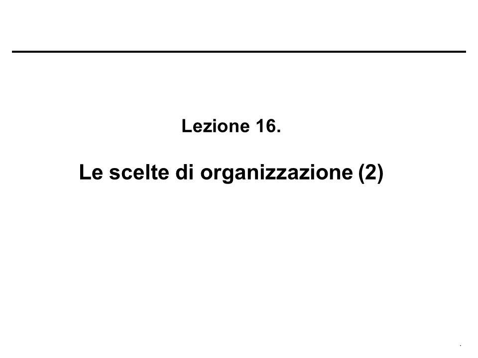Lezione 16. Le scelte di organizzazione (2)