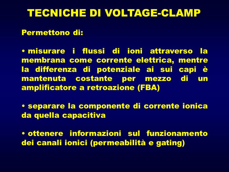 TECNICHE DI VOLTAGE-CLAMP
