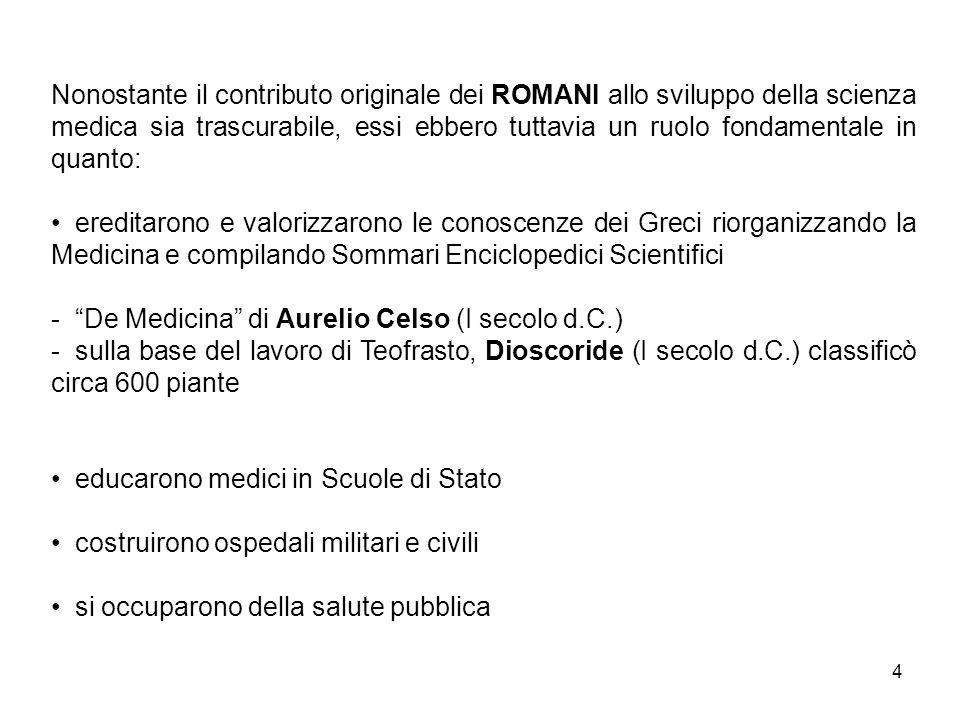 Nonostante il contributo originale dei ROMANI allo sviluppo della scienza medica sia trascurabile, essi ebbero tuttavia un ruolo fondamentale in quanto: