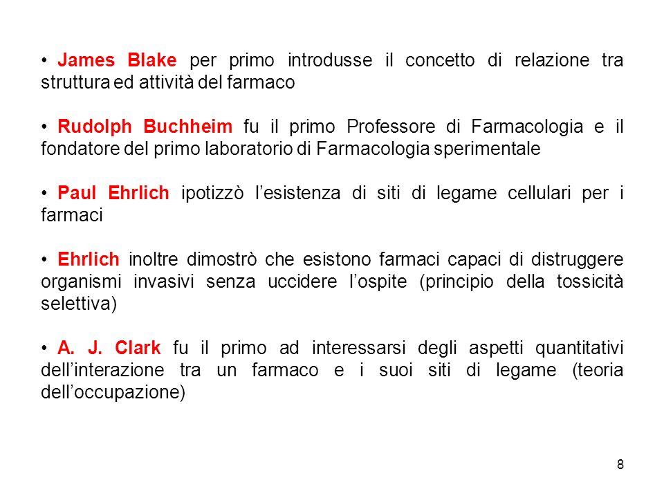 James Blake per primo introdusse il concetto di relazione tra struttura ed attività del farmaco