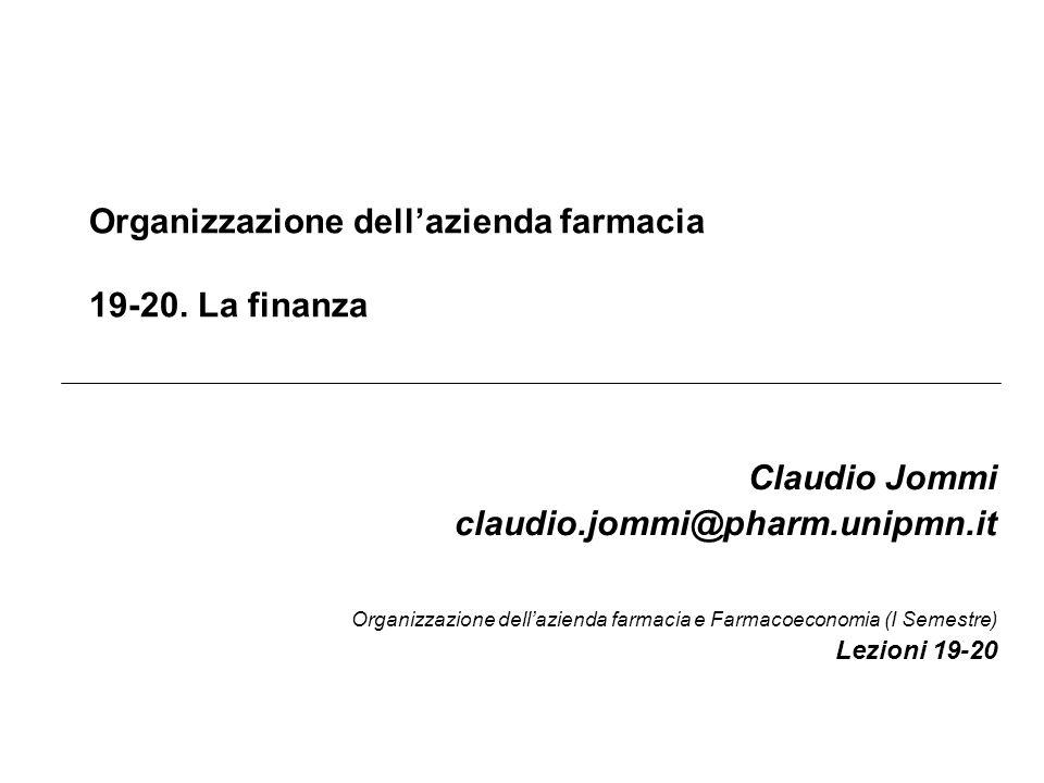 Organizzazione dell'azienda farmacia 19-20. La finanza