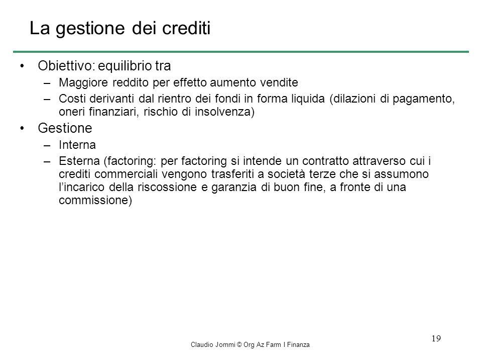 La gestione dei crediti