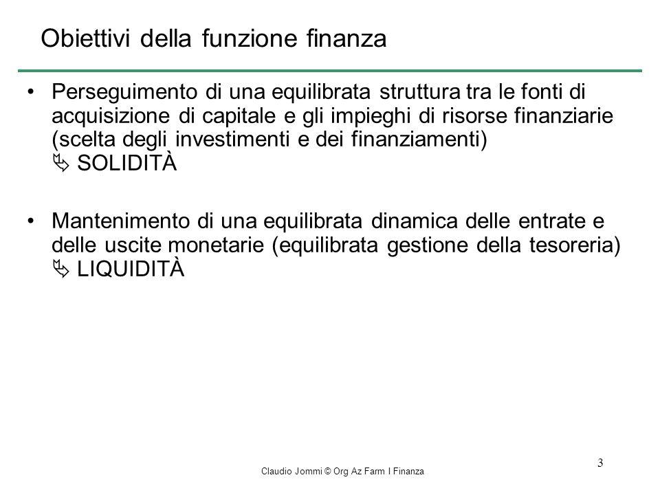 Obiettivi della funzione finanza