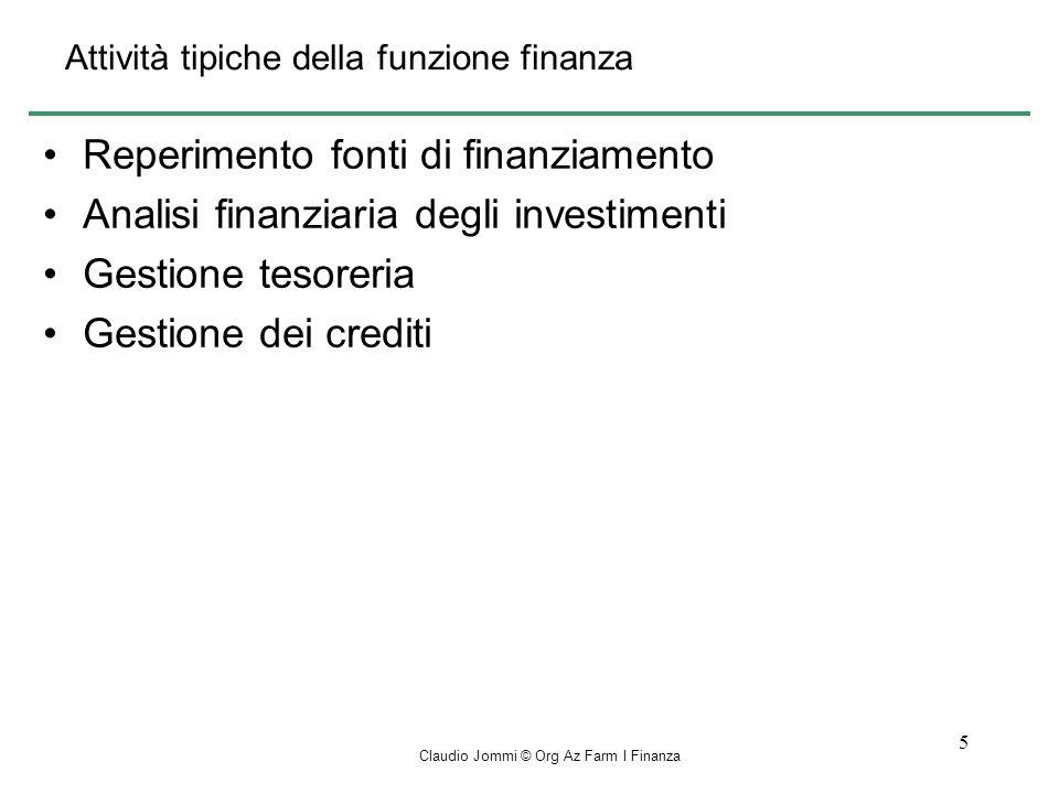 Attività tipiche della funzione finanza