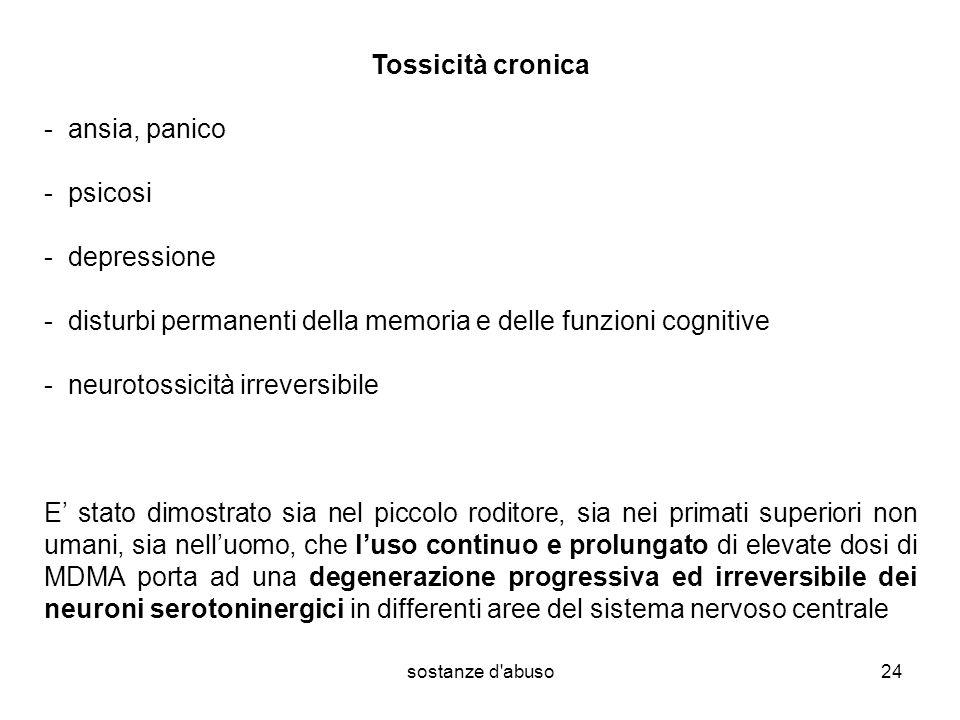 - disturbi permanenti della memoria e delle funzioni cognitive