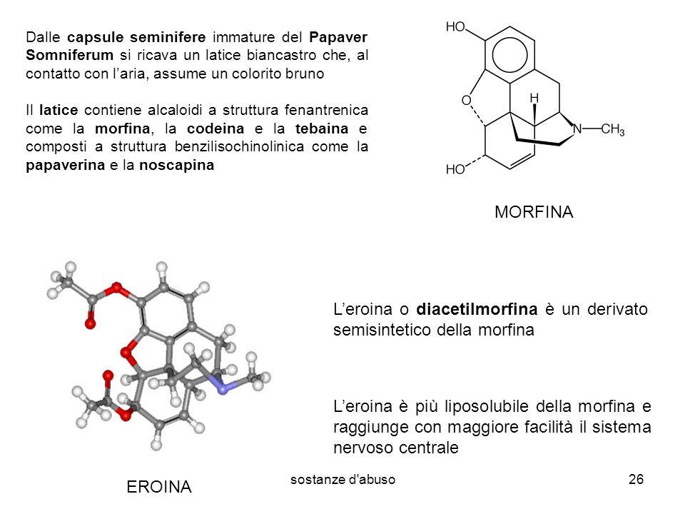 L'eroina o diacetilmorfina è un derivato semisintetico della morfina