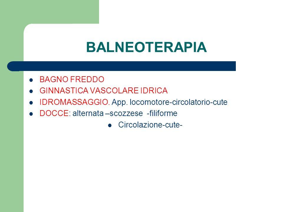 BALNEOTERAPIA BAGNO FREDDO GINNASTICA VASCOLARE IDRICA