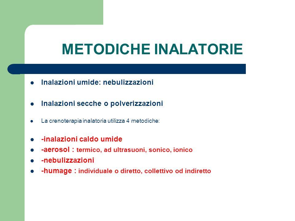 METODICHE INALATORIE Inalazioni umide: nebulizzazioni
