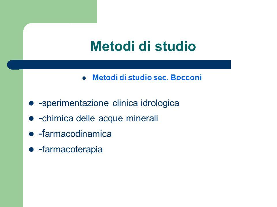 Metodi di studio sec. Bocconi