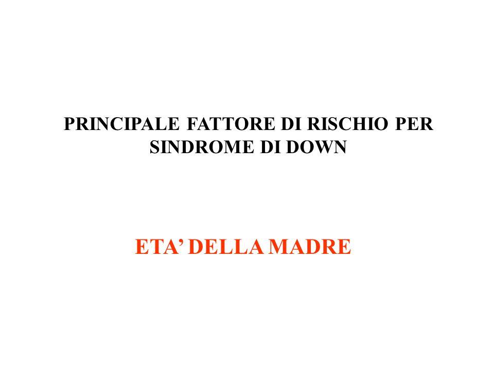 PRINCIPALE FATTORE DI RISCHIO PER SINDROME DI DOWN